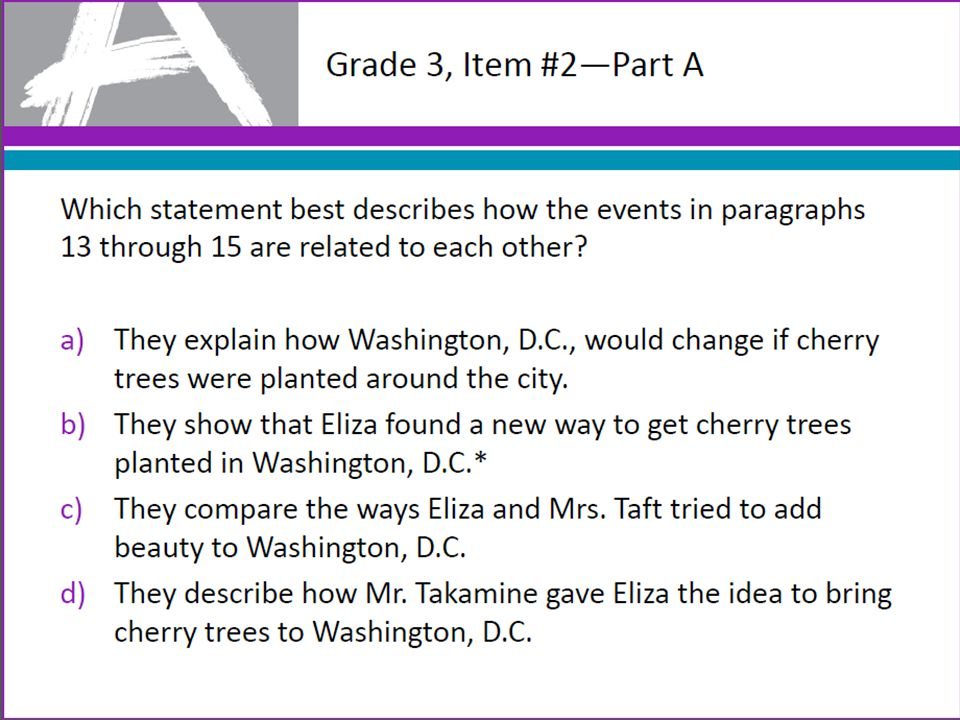 Grade 3, Item #2—Part A Which statement best describes how the events in paragraphs 13 through 15 are related to each other? a)They explain how Washin