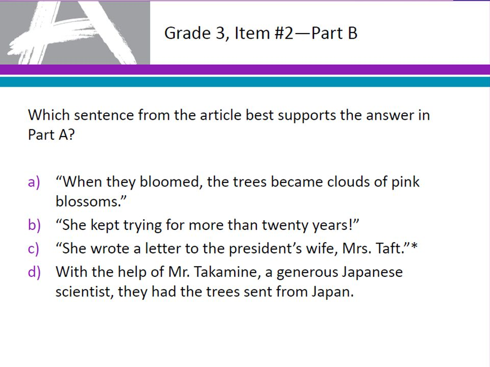 Grade 3, Item #2—Part B Which sentence from the article best supports the answer in Part A?