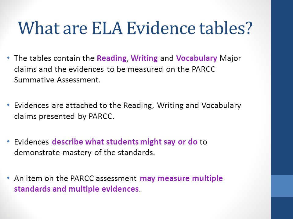 The tables contain the Reading, Writing and Vocabulary Major claims and the evidences to be measured on the PARCC Summative Assessment. Evidences are
