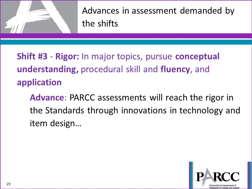 Advances in assessment demanded by the shifts Shift #3 - Rigor: In major topics, pursue conceptual understanding, procedural skill and fluency, and application Advance: PARCC assessments will reach the rigor in the Standards through innovations in technology and item design… 29