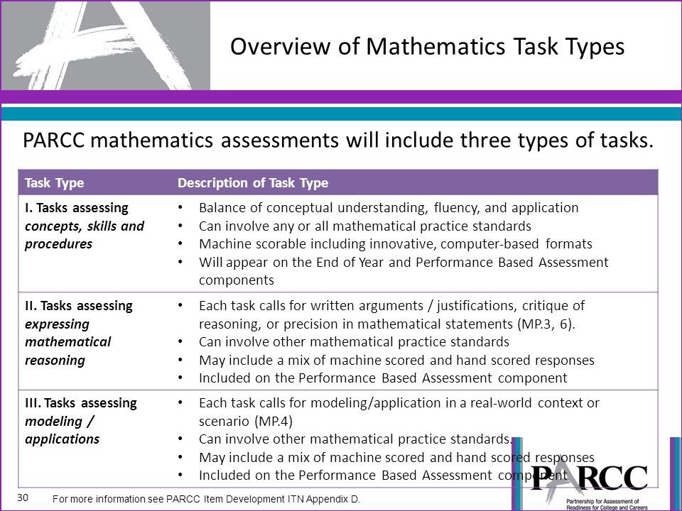 Overview of Mathematics Task Types PARCC mathematics assessments will include three types of tasks.