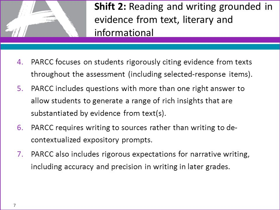 Advances in Assessment Demanded by the Shifts Shift #2 - Coherence: Think across grades, and link to major topics within grades Advance: Integrative tasks draw on multiple standards to ensure students are making important connections.