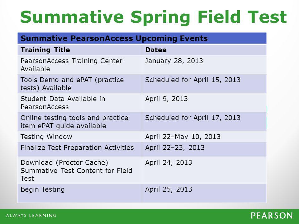 Summative Spring Field Test Summative PearsonAccess Upcoming Events Training TitleDates PearsonAccess Training Center Available January 28, 2013 Tools