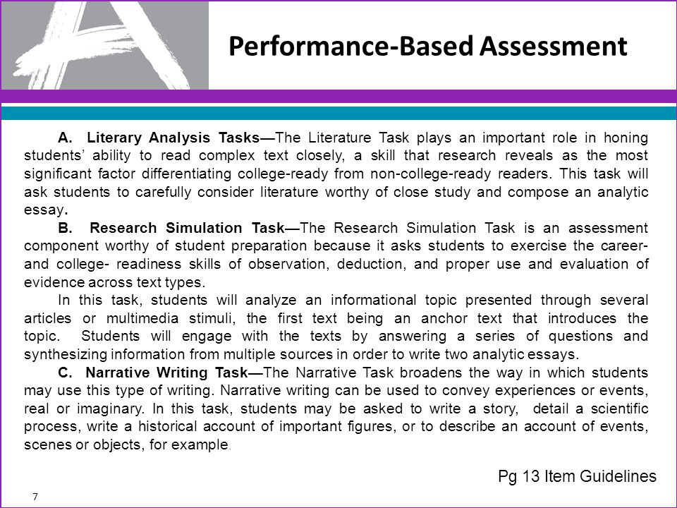Criterion 9: Alignment of PBA Task to Model 58 If the item is part of a PBA task, does it contribute to the focus and coherence of the task model?