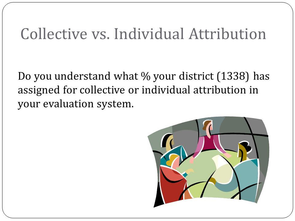 Do you understand what % your district (1338) has assigned for collective or individual attribution in your evaluation system.