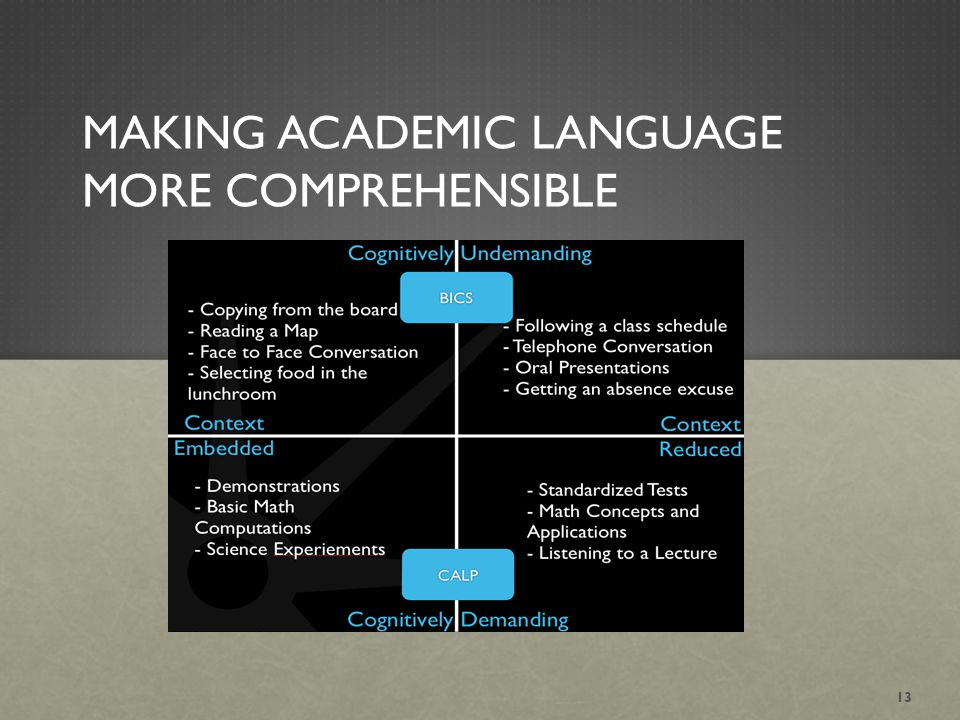 MAKING ACADEMIC LANGUAGE MORE COMPREHENSIBLE 13