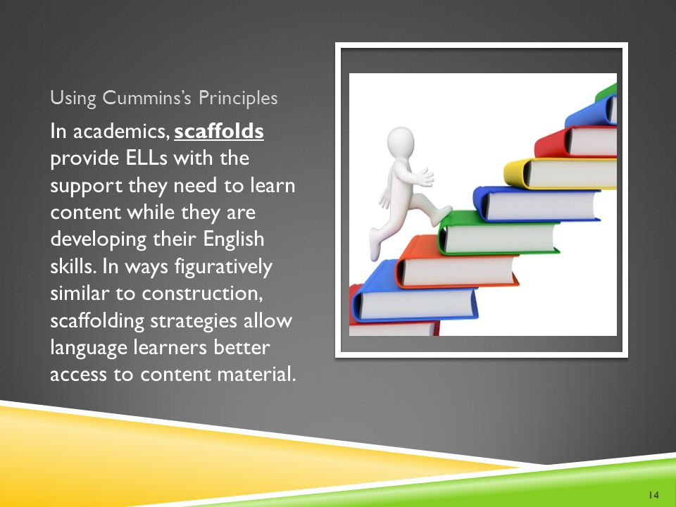 Using Cummins's Principles In academics, scaffolds provide ELLs with the support they need to learn content while they are developing their English skills.