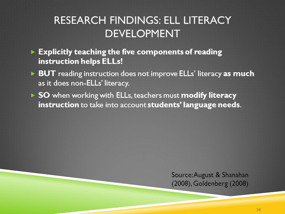 RESEARCH FINDINGS: ELL LITERACY DEVELOPMENT  Explicitly teaching the five components of reading instruction helps ELLs.