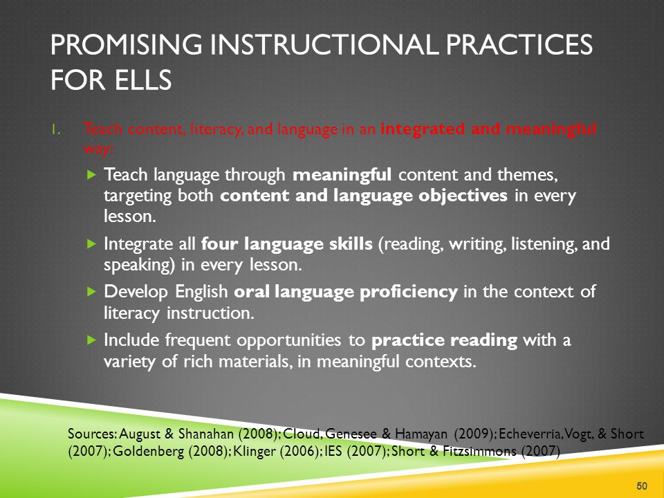PROMISING INSTRUCTIONAL PRACTICES FOR ELLS 1.