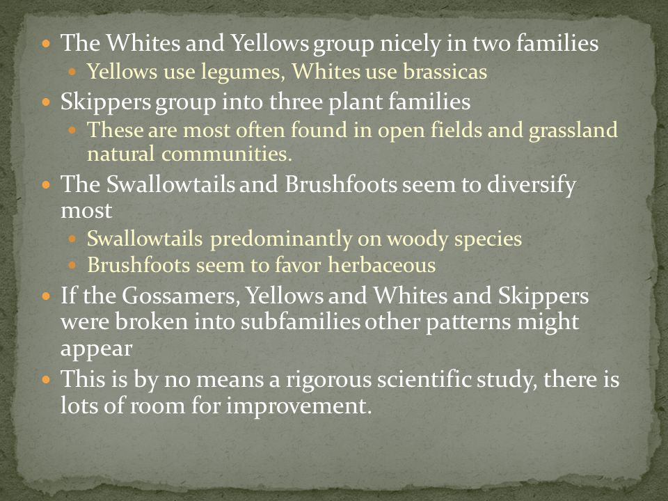 The Whites and Yellows group nicely in two families Yellows use legumes, Whites use brassicas Skippers group into three plant families These are most