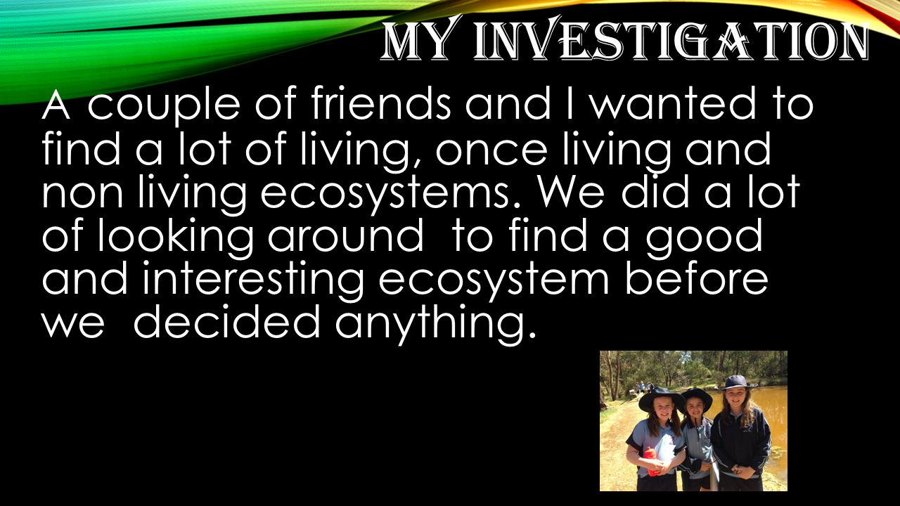 MY INVESTIGATION A couple of friends and I wanted to find a lot of living, once living and non living ecosystems.