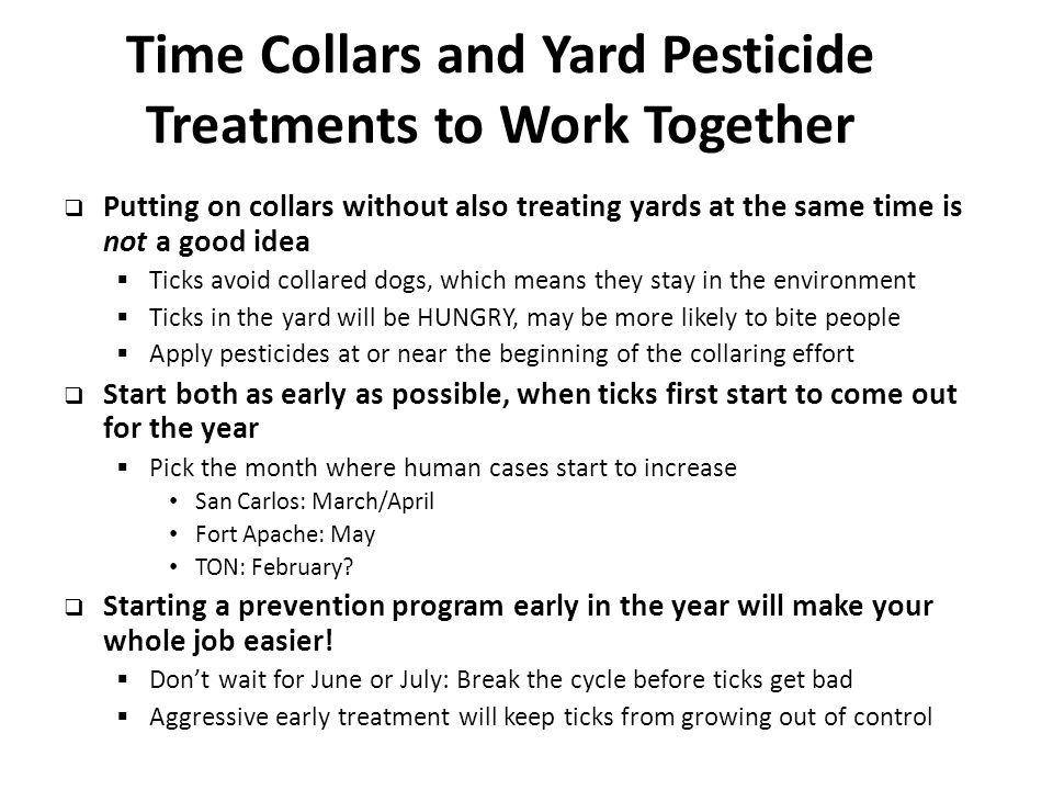 Time Collars and Yard Pesticide Treatments to Work Together  Putting on collars without also treating yards at the same time is not a good idea  Ticks avoid collared dogs, which means they stay in the environment  Ticks in the yard will be HUNGRY, may be more likely to bite people  Apply pesticides at or near the beginning of the collaring effort  Start both as early as possible, when ticks first start to come out for the year  Pick the month where human cases start to increase San Carlos: March/April Fort Apache: May TON: February.