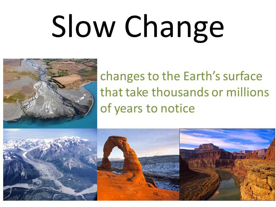 Slow Change changes to the Earth's surface that take thousands or millions of years to notice