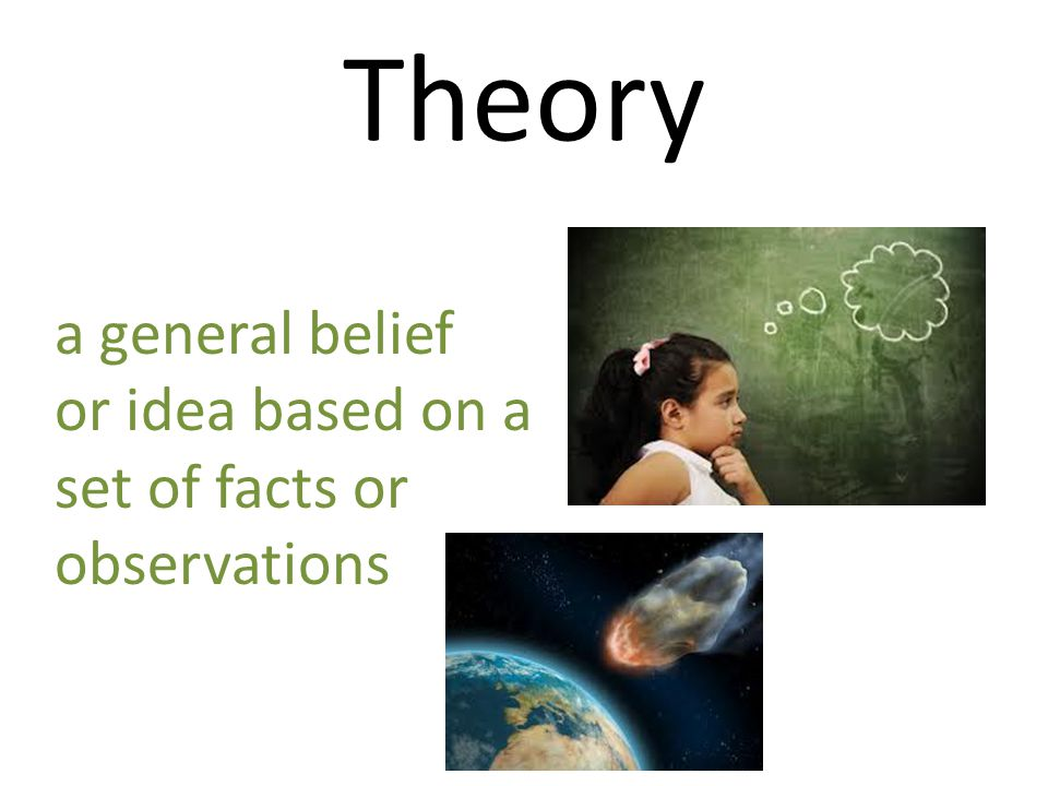Theory a general belief or idea based on a set of facts or observations