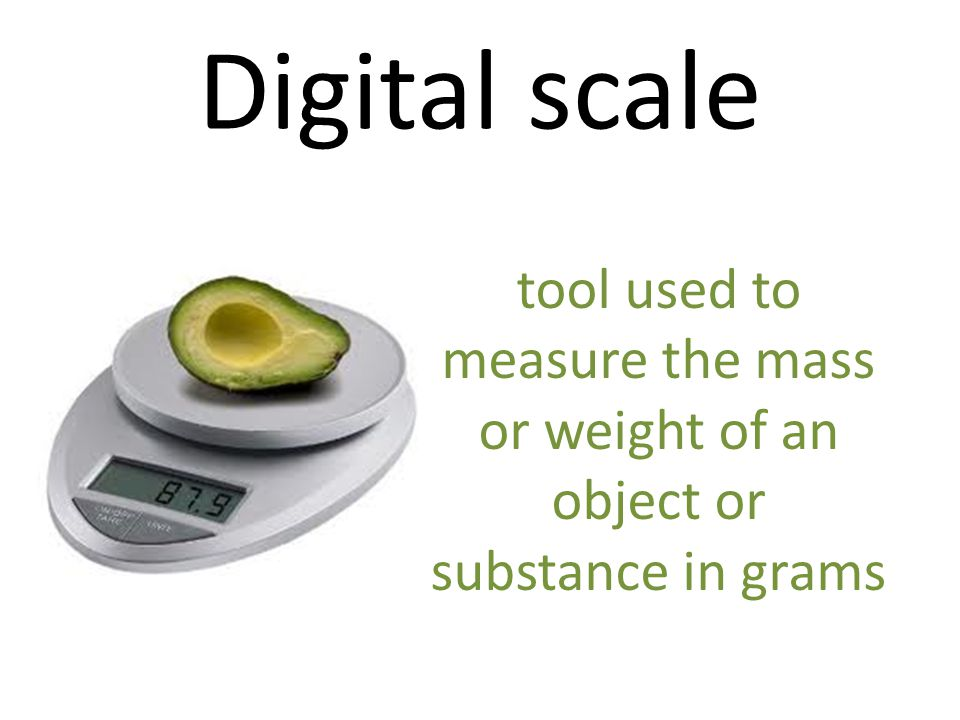 Digital scale tool used to measure the mass or weight of an object or substance in grams