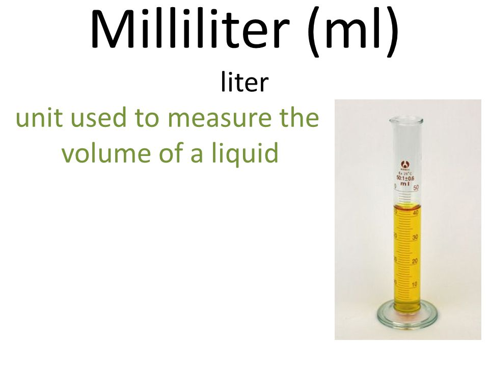 Milliliter (ml) liter unit used to measure the volume of a liquid