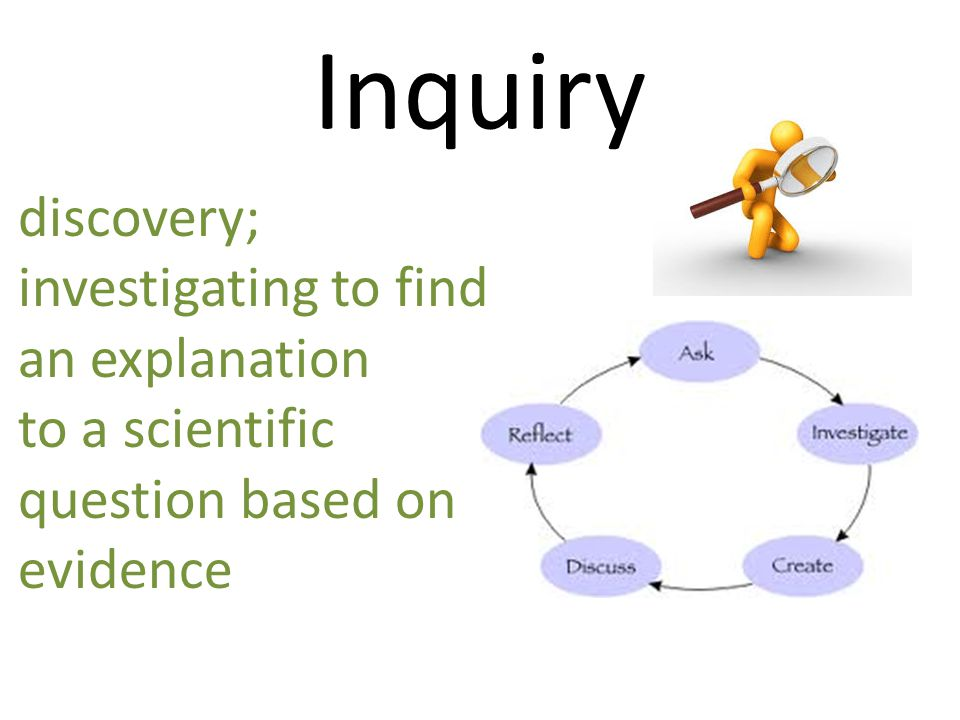 Inquiry discovery; investigating to find an explanation to a scientific question based on evidence