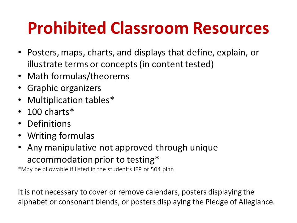 Prohibited Classroom Resources Posters, maps, charts, and displays that define, explain, or illustrate terms or concepts (in content tested) Math form