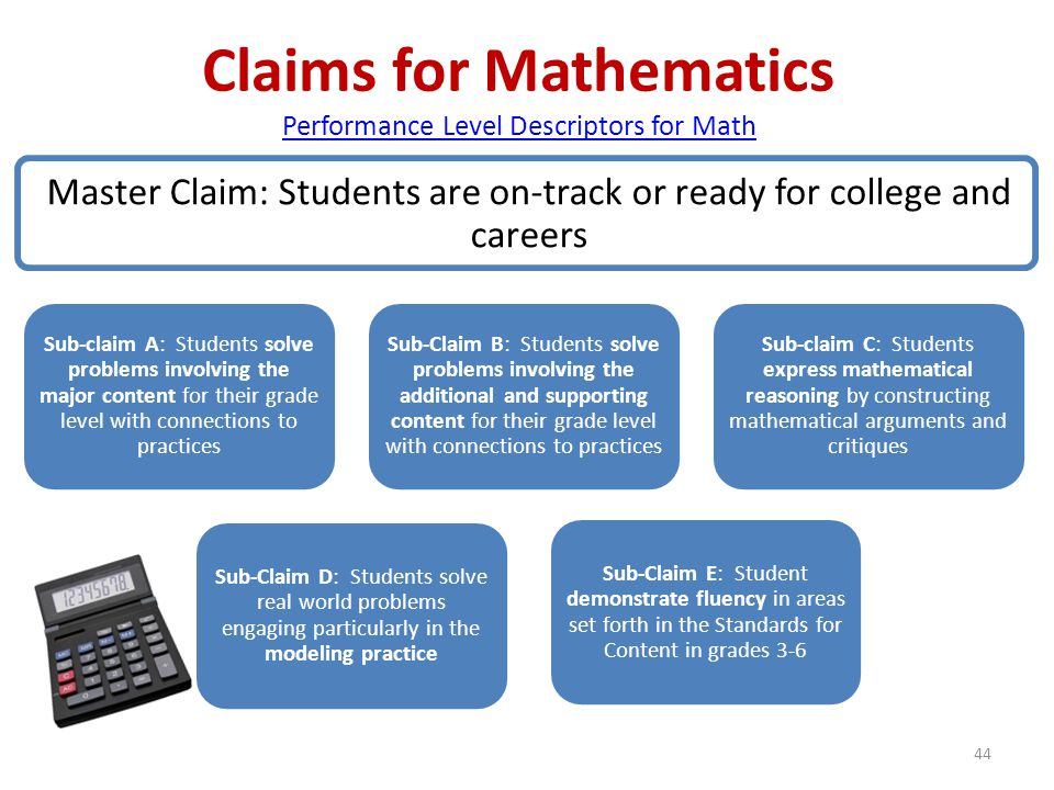 44 Claims for Mathematics Performance Level Descriptors for Math Performance Level Descriptors for Math Master Claim: Students are on-track or ready f