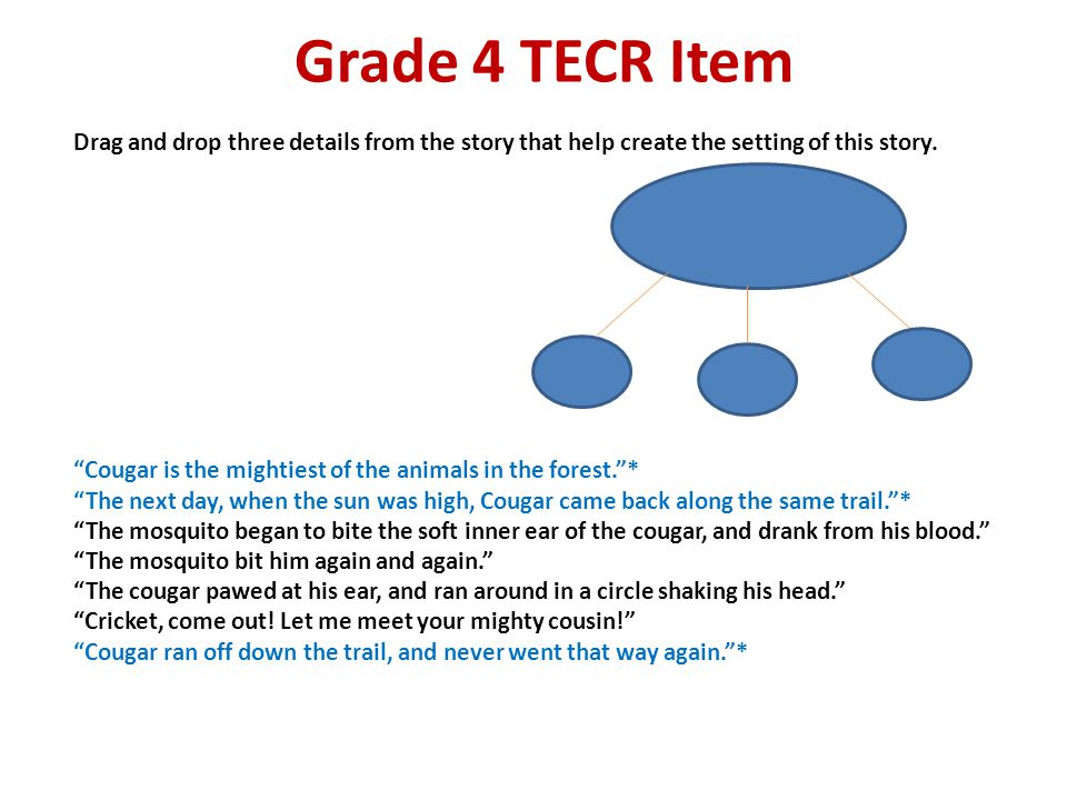 "Grade 4 TECR Item Drag and drop three details from the story that help create the setting of this story. ""Cougar is the mightiest of the animals in th"