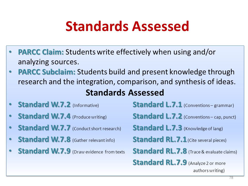Standards Assessed 78 PARCC Claim: PARCC Claim: Students write effectively when using and/or analyzing sources. PARCC Subclaim: PARCC Subclaim: Studen