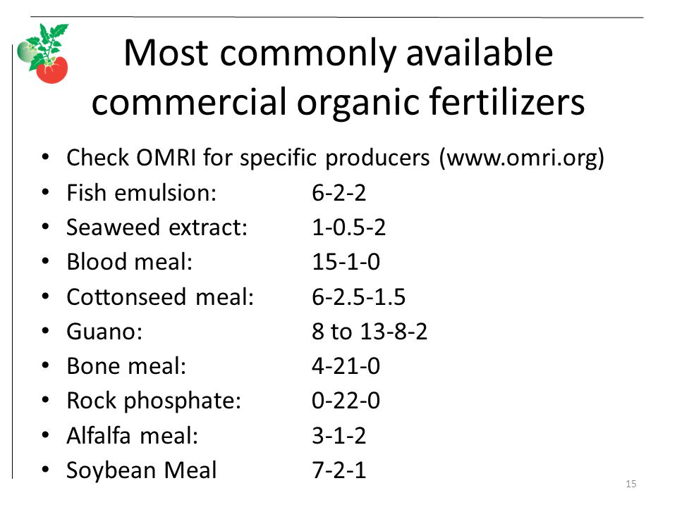 Most commonly available commercial organic fertilizers Check OMRI for specific producers (www.omri.org) Fish emulsion: 6-2-2 Seaweed extract: 1-0.5-2 Blood meal: 15-1-0 Cottonseed meal: 6-2.5-1.5 Guano: 8 to 13-8-2 Bone meal: 4-21-0 Rock phosphate: 0-22-0 Alfalfa meal: 3-1-2 Soybean Meal7-2-1 15