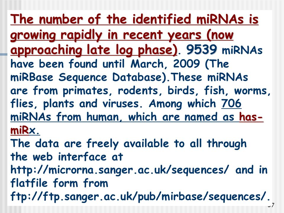 57 The number of the identified miRNAs is growing rapidly in recent years (now approaching late log phase)9539 has- miR The number of the identified m