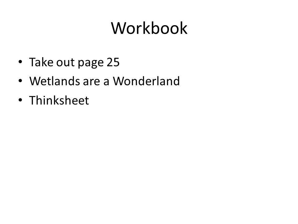 Workbook Take out page 25 Wetlands are a Wonderland Thinksheet