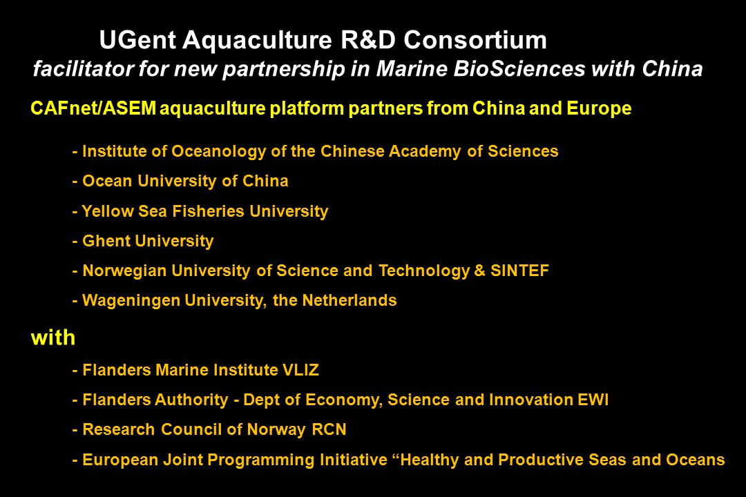 Plenary Lecture I : Resources, technologies and services for future aquaculture: a needs assessment for sustainable development Patrick Sorgeloos (Ghent University, Belgium)