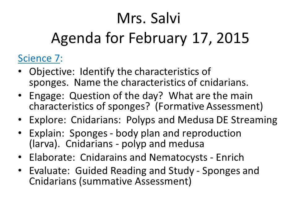 Mrs. Salvi Agenda for February 17, 2015 Science 6: Review for test on Thursday