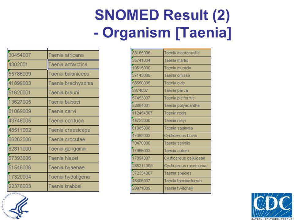 SNOMED Result (2) - Organism [Taenia]