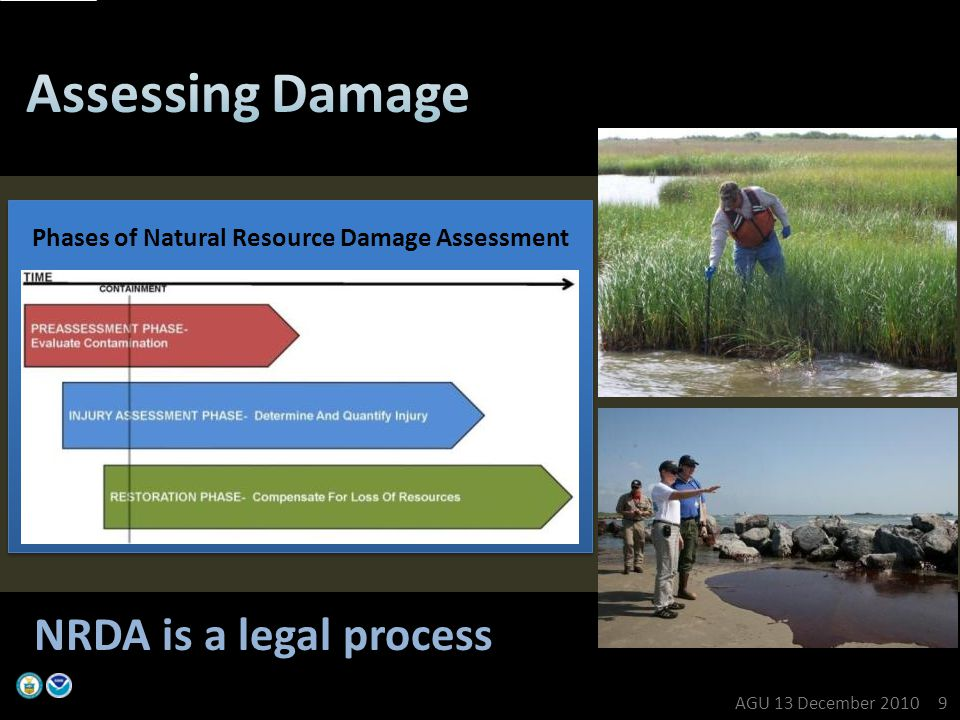 Phases of Natural Resource Damage Assessment NRDA is a legal process AGU 13 December 2010 9