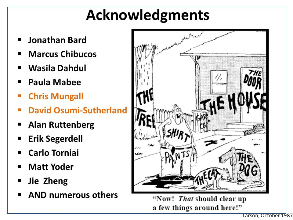 Acknowledgments  Jonathan Bard  Marcus Chibucos  Wasila Dahdul  Paula Mabee  Chris Mungall  David Osumi-Sutherland  Alan Ruttenberg  Erik Segerdell  Carlo Torniai  Matt Yoder  Jie Zheng  AND numerous others Larson, October 1987