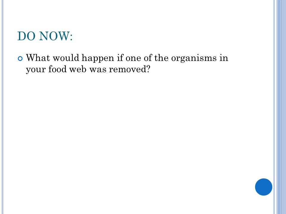 DO NOW: What would happen if one of the organisms in your food web was removed?