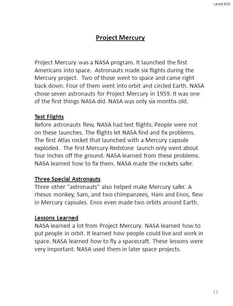 11 Project Mercury Project Mercury was a NASA program.