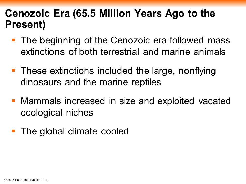 © 2014 Pearson Education, Inc. Cenozoic Era (65.5 Million Years Ago to the Present)  The beginning of the Cenozoic era followed mass extinctions of b