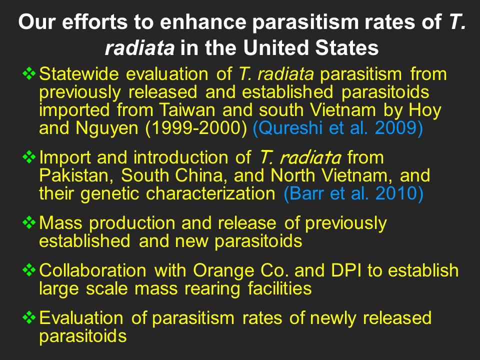 Our efforts to enhance parasitism rates of T.