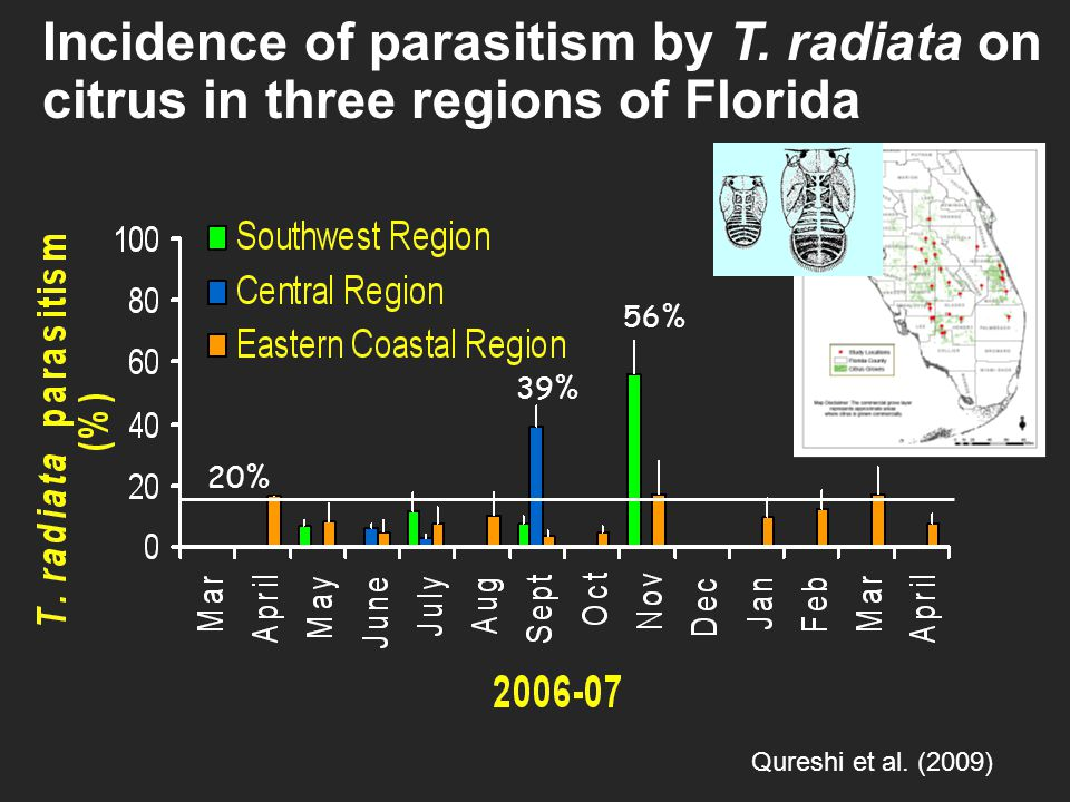 Incidence of parasitism by T.