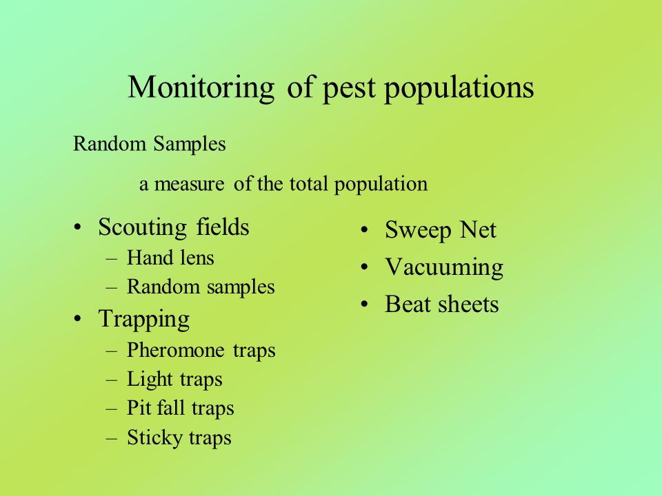 Monitoring of pest populations Scouting fields –Hand lens –Random samples Trapping –Pheromone traps –Light traps –Pit fall traps –Sticky traps Sweep N