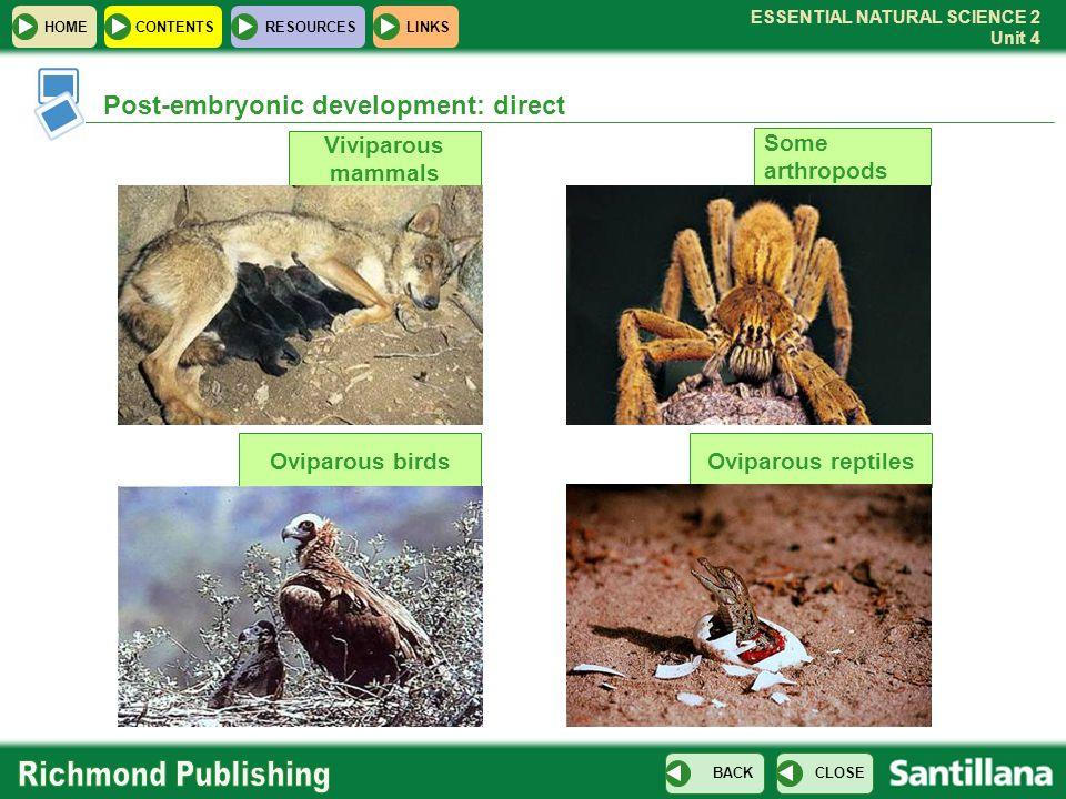ESSENTIAL NATURAL SCIENCE 2 Unit 4 HOMECONTENTS RESOURCES CLOSE BACK LINKS Some arthropods Oviparous birds Viviparous mammals Post-embryonic developme