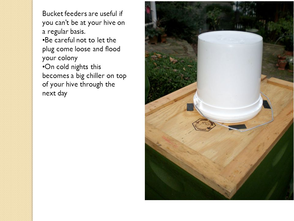 Bucket feeders are useful if you can't be at your hive on a regular basis.