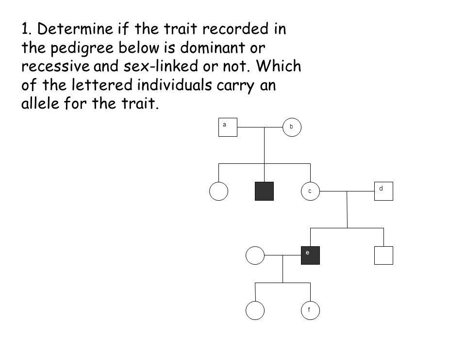1. Determine if the trait recorded in the pedigree below is dominant or recessive and sex-linked or not. Which of the lettered individuals carry an al