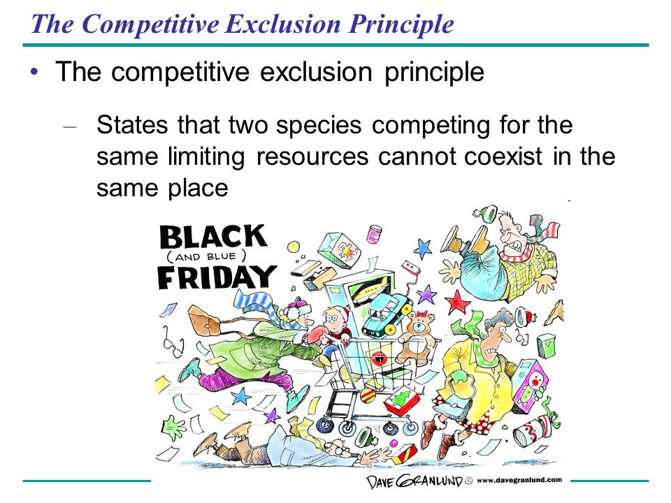 The Competitive Exclusion Principle The competitive exclusion principle – States that two species competing for the same limiting resources cannot coe
