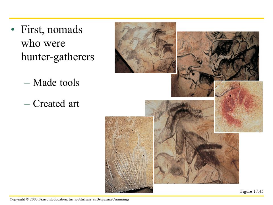 Copyright © 2003 Pearson Education, Inc. publishing as Benjamin Cummings First, nomads who were hunter-gatherers –Made tools –Created art Figure 17.45