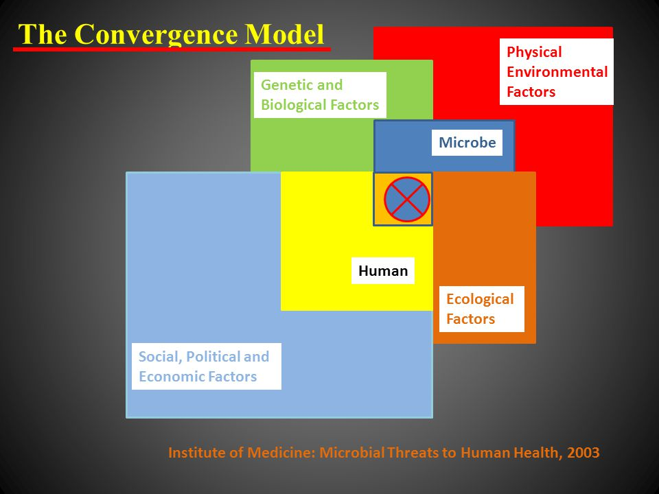 Physical Environmental Factors Genetic and Biological Factors Microbe Ecological Factors Social, Political and Economic Factors Human The Convergence