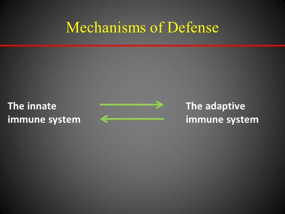 Mechanisms of Defense The innate immune system The adaptive immune system