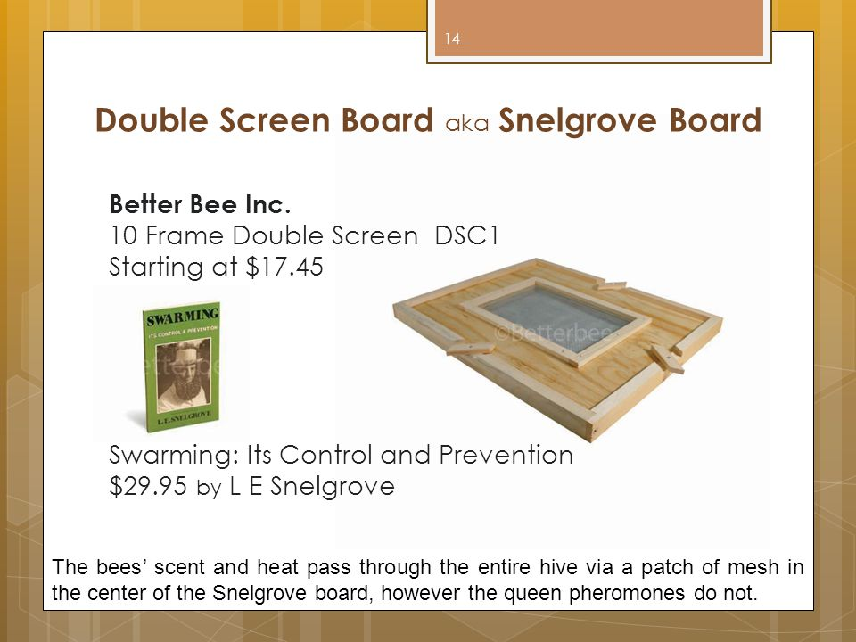 Double Screen Board aka Snelgrove Board Better Bee Inc. 10 Frame Double Screen DSC1 Starting at $17.45 Swarming: Its Control and Prevention $29.95 by
