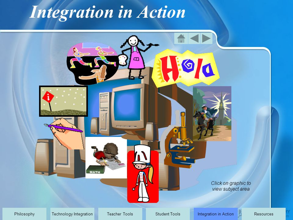 Click on graphic to view subject area PhilosophyTechnology IntegrationTeacher ToolsStudent ToolsIntegration in ActionResources