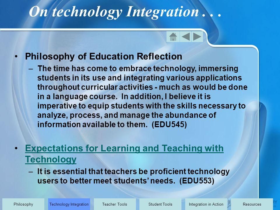 On technology Integration...