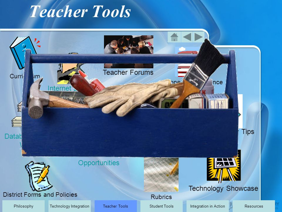 District Forms and Policies Curriculum Scope and Sequence Internet Links Database of Useful Websites Rubrics Teacher Website Showcase Technology Showcase Teacher Forums Professional Development Opportunities Technology Tips PhilosophyTechnology IntegrationTeacher ToolsStudent ToolsIntegration in ActionResources